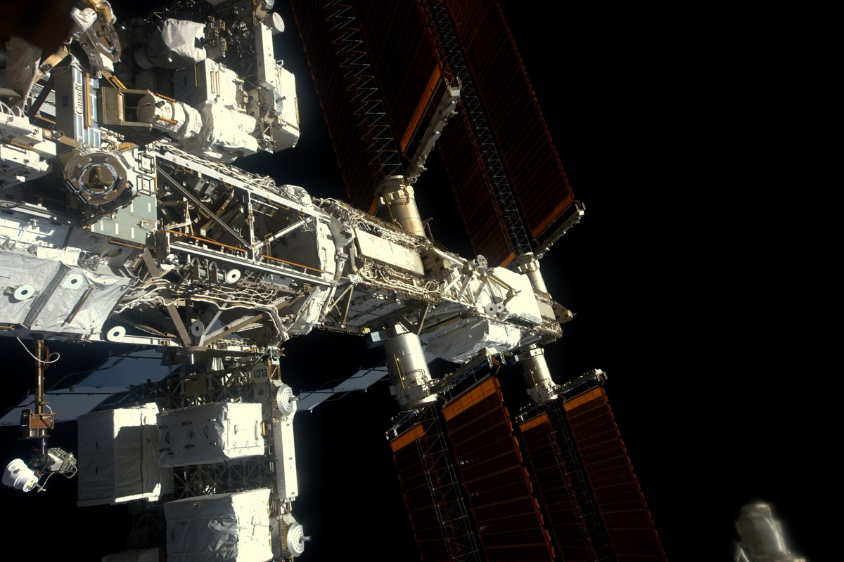A view of the space station's starboard truss, where the six lithium-ion batteries will be installed next month. Credit: NASA/ESA/Thomas Pesquet