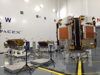 A view of the Iridium Next satellites and the SpaceX dispenser inside a clean room at Vandenberg in August. Credit: Iridium