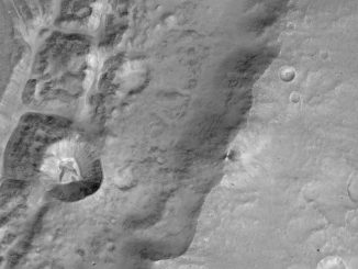 Close-up from CaSSIS of the rim of a large unnamed crater north of a crater named Da Vinci, situated near the Mars equator. A smaller, 4,600-foot (1.4-kilometer) diameter crater is seen in the rim along the left hand side of the image. The image scale is 23.6 feet (7.2 meters) per pixel. Credit: ESA/Roscosmos/ExoMars/CaSSIS/UniBE