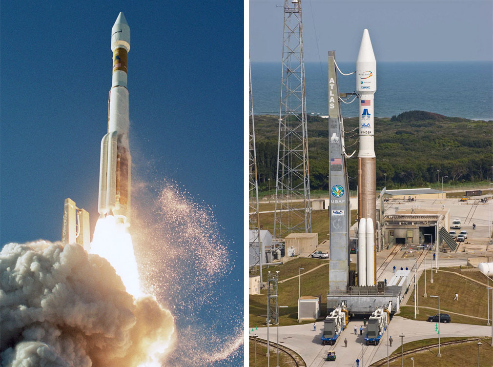 A 431 version of the Atlas 5 vehicle that will launch EchoStar 19 has previously flown twice in 2005 and 2009 for Inmarsat and Intelsat. Credit: Pat Corkery