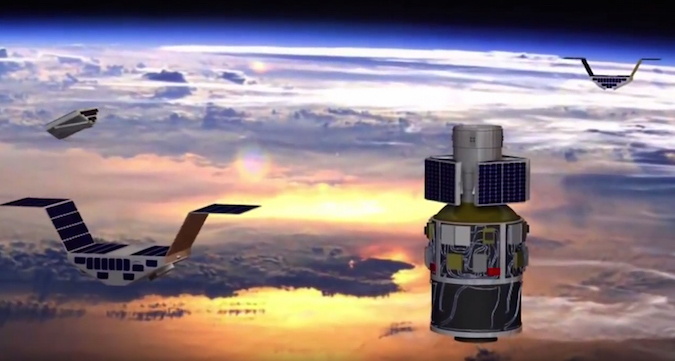 Artist's concept of the CYGNSS satellites deploying from the carrier module on the Pegasus rocket's third stage. Credit: NASA/University of Michigan/SWRI