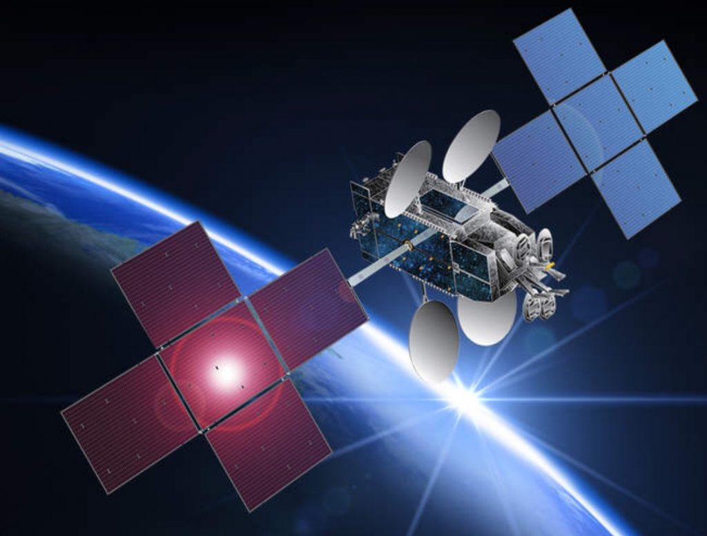 An artist's concept of EchoStar 19 deployed in space. Credit: Hughes