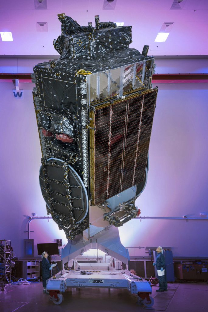 The EchoStar 19 satellite in the factory. Credit: SSL