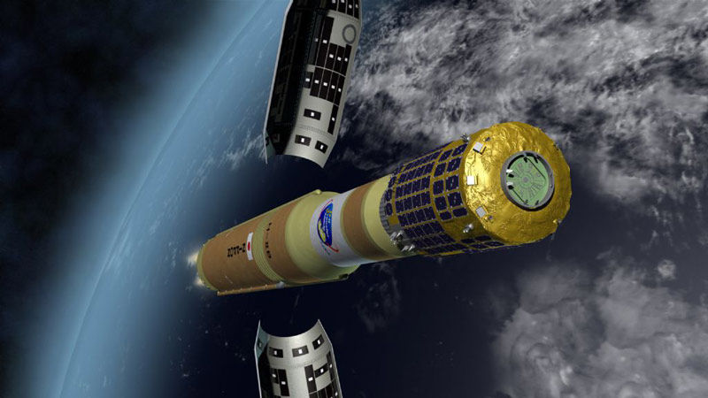 After traversing the dense lower atmosphere and reaching an altitude of 75 miles (120 kilometers), the rocket releases the 16.7-foot-diameterv (5.1-meter) payload fairing protecting the H-2 Transfer Vehicle during the early part of the flight.
