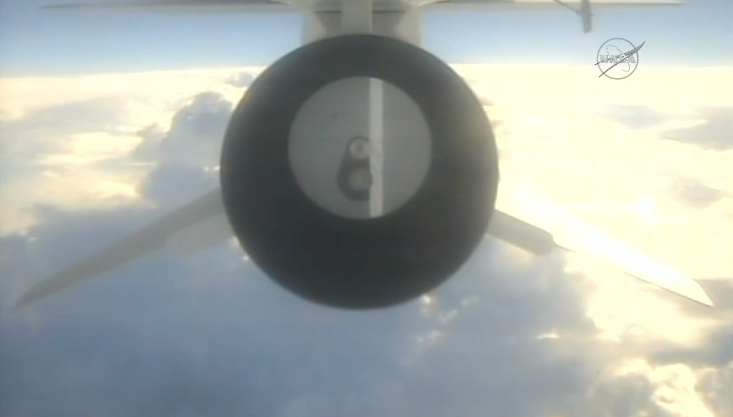 A camera on-board the L-1011 carrier plane shows the aft end of the Pegasus XL rocket in flight over the Atlantic Ocean Monday. Credit: NASA TV