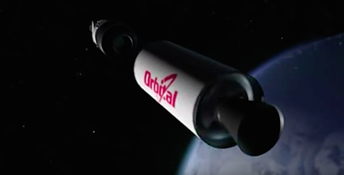 The Pegasus XL's second stage separates from the third stage.