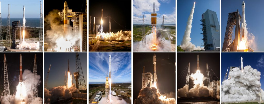 A dozen Atlas and Delta rockets were launched, all successfully, in 2016. Photos: United Launch Alliance