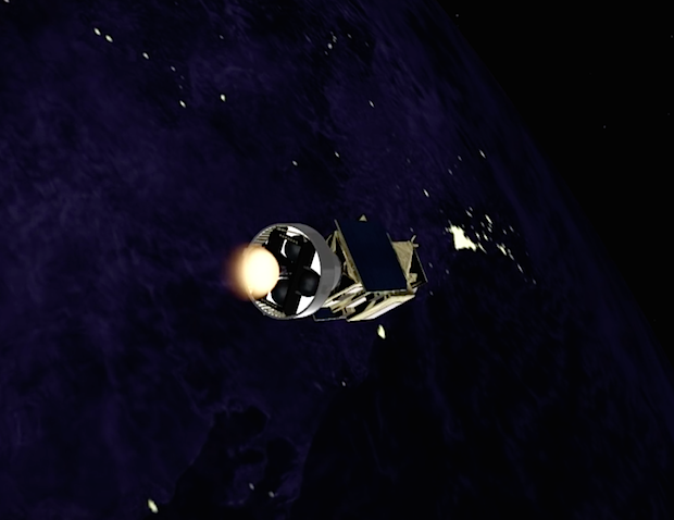 The AVUM fires a second time for a 102-second burn to put the Gokturk 1 satellite into its targeted orbit.