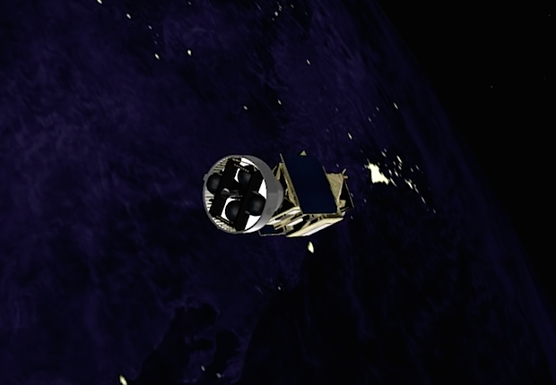 The AVUM engine shuts down after reaching a near circular orbit with an altitude of nearly 435 miles (700 kilometers), and an inclination of 98.11 degrees.
