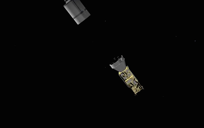 The Zefiro 9 third stage shuts down and separates, having accelerated the rocket to nearly orbital velocity.