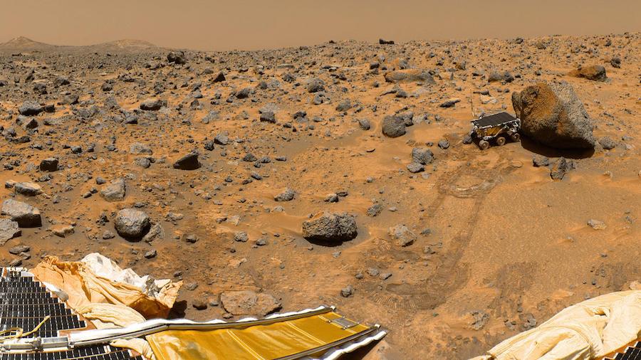 NASA robotic probe Pathfinder and Sojourner on Mars Photo Print