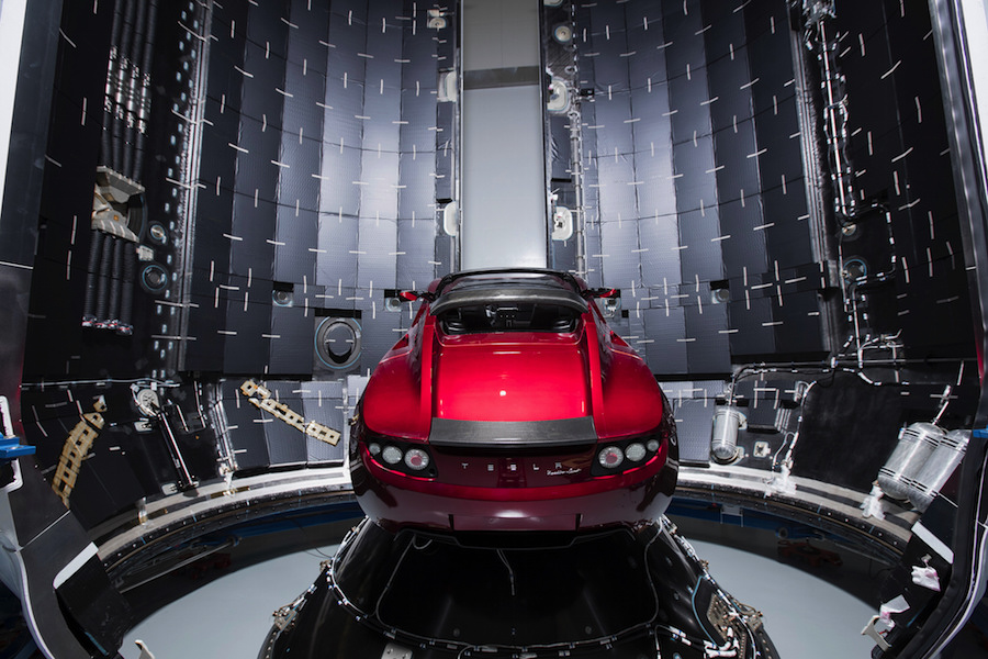 Photos: Elon Musk's Tesla Roadster prepped for one-way ...