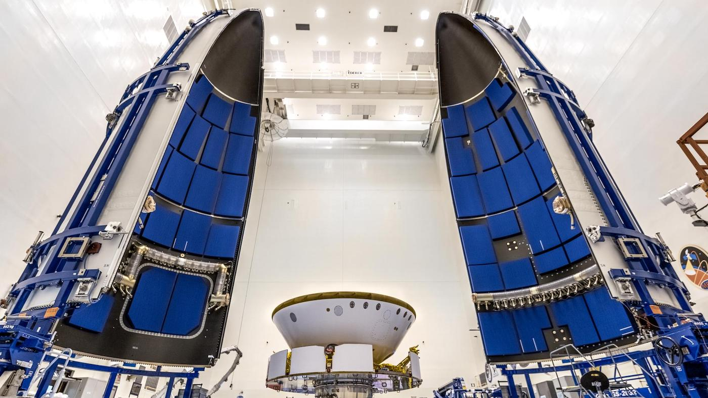 Photos: Mars rover encapsulated for launch, mated with Atlas 5 rocket