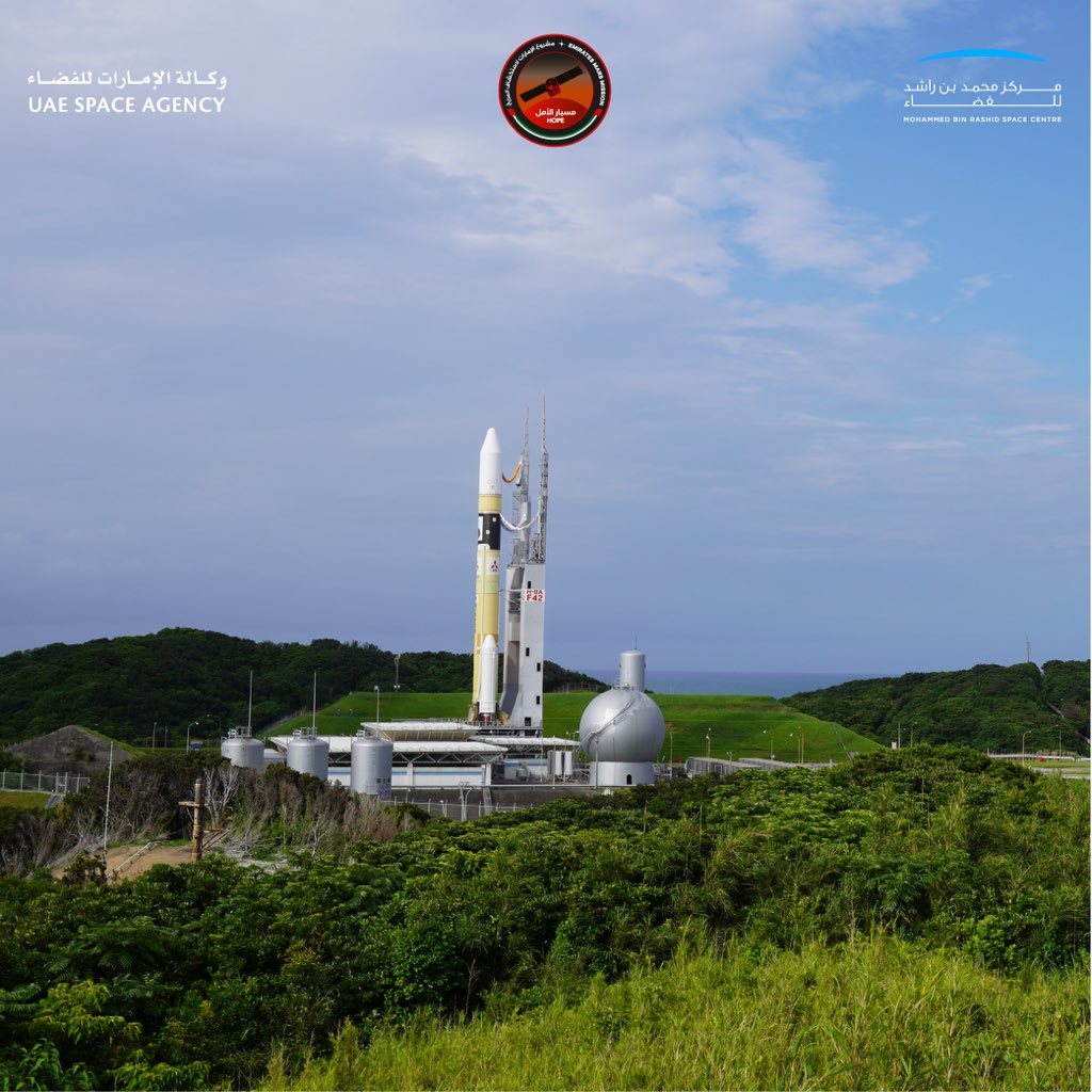 Photos: H-2A rocket reaches launch pad with UAE's Hope Mars probe